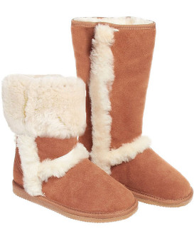 Shearling Sheepskin Boots with Exposed Seam