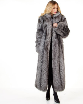 Women's Natasha Full Length Silver Fox Fur Coat