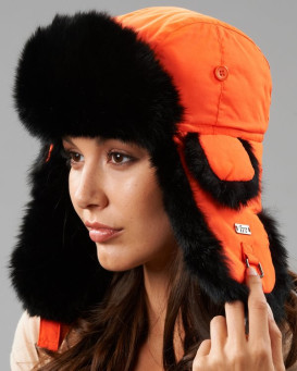 Blaze Orange Talson Trapper with Black Rabbit Fur