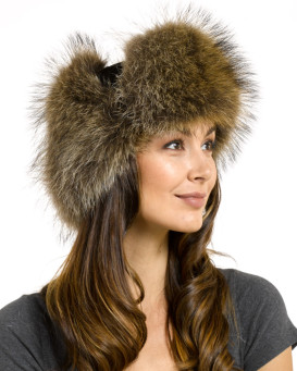 Womens Raccoon Fur & Suede Russian Officer Hat