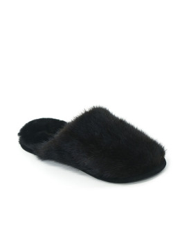Woman's Mahogany Mink Slippers with Sheepskin Lining
