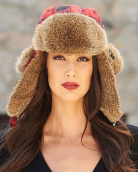 Women's Red Buffalo Check Rabbit Fur Trapper Hat