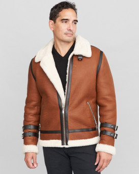 Wyatt Shearling Sheepskin Moto Jacket in Brown