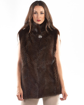 Wynter Mahogany Mink Vest with Full Skin Mink Collar
