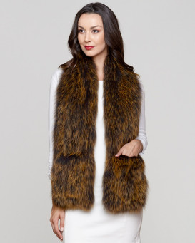 Zahra Wide Knit Fox Fur Scarf with Pockets in Gold Tipping