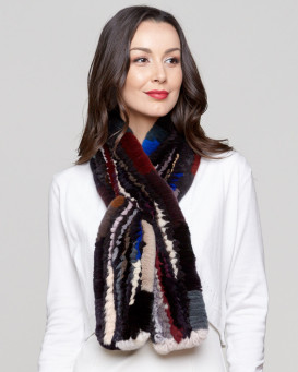 Zandra Rex Rabbit Fur Pull Through Scarf in Multi-Color