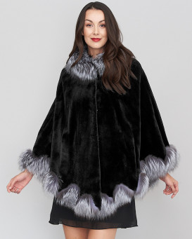 Zelda Sheared Mink fur Cape with Silver Fox Fur Trim