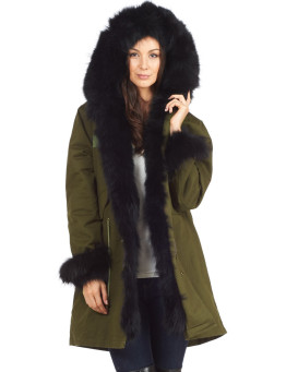 Black Fur Military Parka with Fur Cuffs & Hood