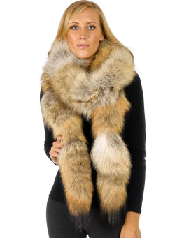 Sierra Long Natural Coyote Fur Boa Scarf