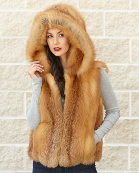 Brynn Red Fox Fur Vest with Flip Collar