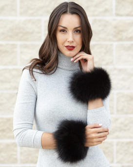 Bridget Black Wide Fox Fur Slap on Cuffs