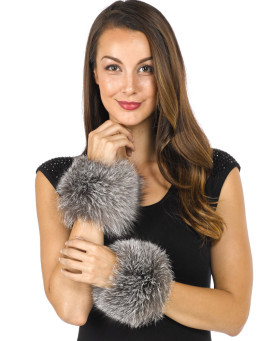 Bridget Silver Wide Fox Fur Slap on Cuffs