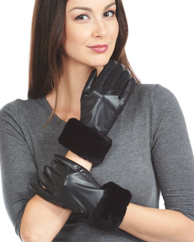 Black Sheared Beaver Trim Wool Lined Leather Gloves