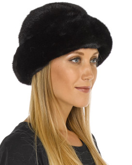 Sabrina Mink Fur Roller Hat with Mink Top in Black