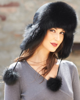 Womens Black Fox Fur Trapper Hat with Pom Poms