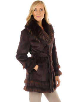 Sierra Rex Rabbit Fur Wrap Coat with Finn Raccoon Collar
