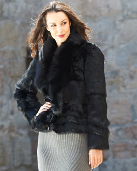 The Kylie Rabbit Fur Coat with Fox Collar in Black