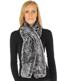 Janelle Black Frost Wide Rex Rabbit Fur Pull Through Scarf