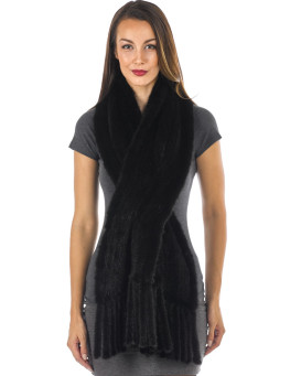 Tessa Knitted Mink Pull Through Fringe Shawl in Black