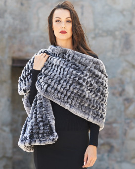 Rachel Rex Rabbit Fur Shawl in Black Frost