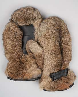 Men's Siberia Brown Rabbit Fur Mittens
