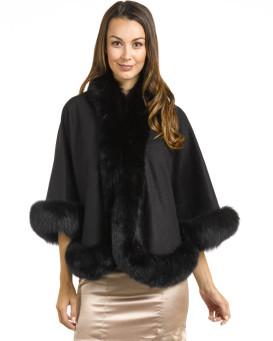 Julie Cashmere Cape with Black Fox Fur Trim