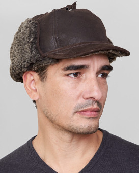 Frosted Brown Shearling Sheepskin Fudd Hunting Hat