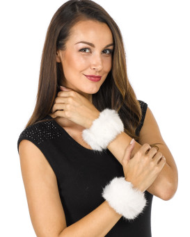 The Angelica Rabbit Fur Slap Cuffs in White