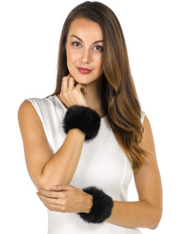 The Angelica Rabbit Fur Slap Cuffs in Black