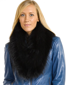 Emma Large Detachable Black Finn Raccoon Fur Collar