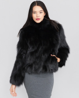 Die Alana Rabbit Fur Belted Jacket mit Fox Trim in Schwarz