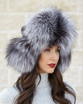 Ladies Silver Fox Fur & Black Leather Russian Milatry Hat