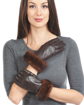 Mahogany Mink Trim Wool Lined Leather Gloves