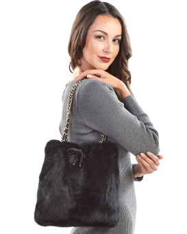 Black Rabbit Fur Purse with Gold Chain