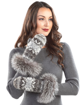 Nordic Knit Wool Mittens with Silver Fox Fur Cuff