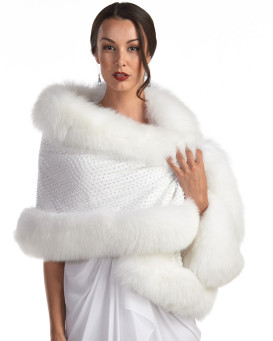 Aaliyah White Stole with Swarovski Crystals and Fox Fur Trim