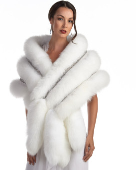 Esmeralda White Stole with Swarovski Crystals and Fox tail