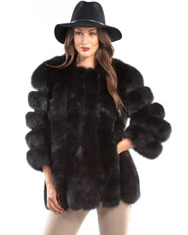 Luciana Black Fox Fur Coat with Vertical Panels