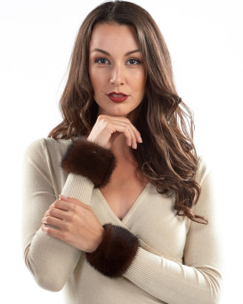 Stephie Wide Mink Slap on Cuffs in Mahogany