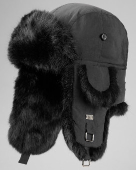 Black B-52 Aviator Hat with Black Rabbit Fur