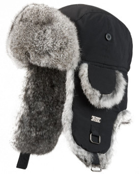 Kids Black with Grey Rabbit Fur Aviator Hat