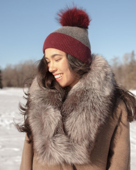 Emma Large Detachable Silver Fox Fur Collar in Black