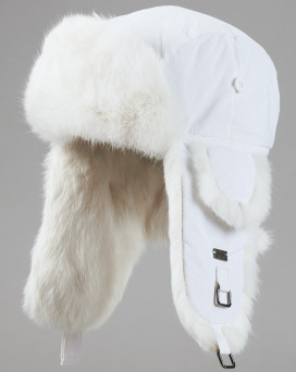 White B-52 Aviator Hat with White Rabbit Fur