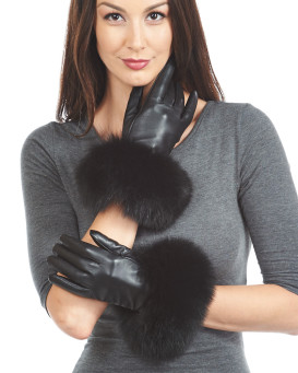 Fox Fur Trim Wool Lined Leather Gloves