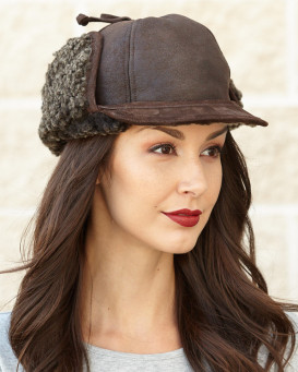 Lady Fudd Shearling Sheepskin Hat in Brown Frost