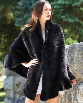 Brianna Knit Mink Ruffled Wrap