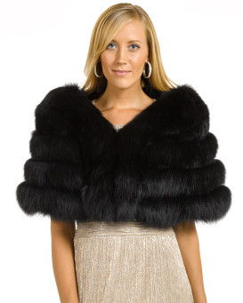 The Fiona Black Four Tier Fox Fur Stole