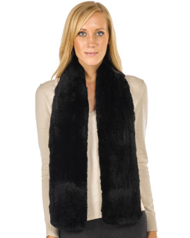 Jocelyn Black Wide Rex Rabbit Fur Pull Through Scarf